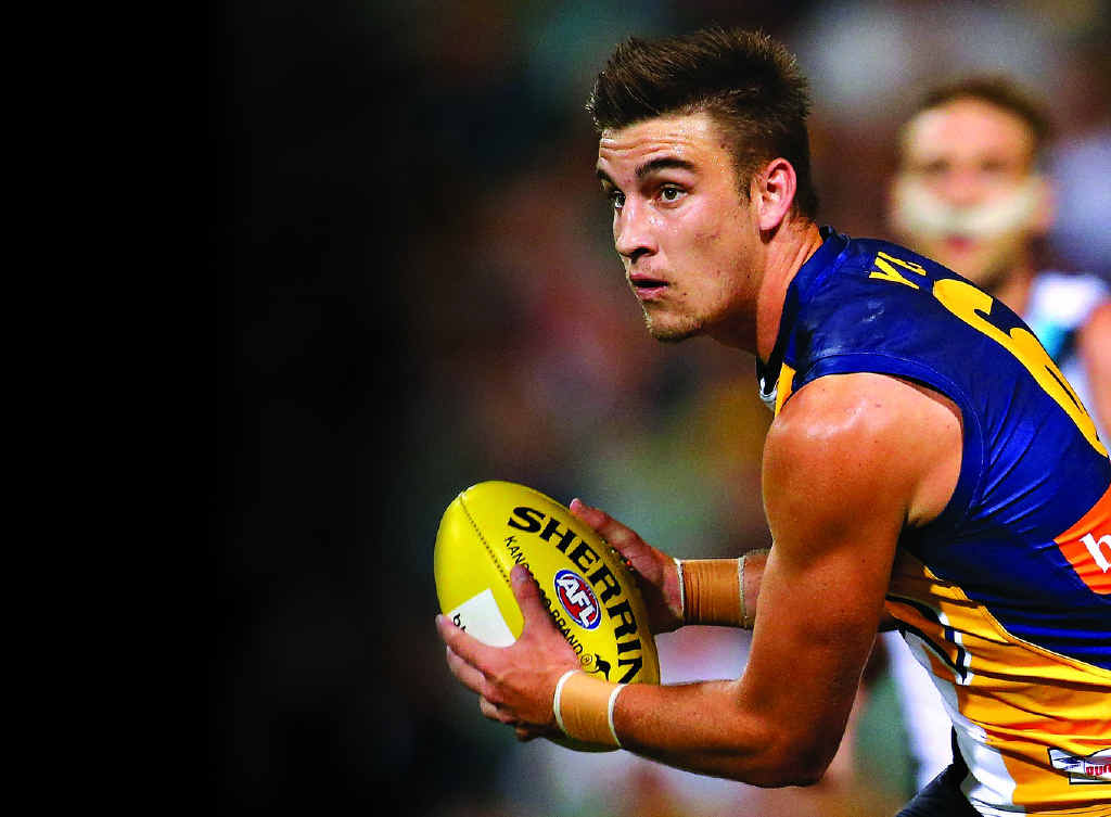 FITTING IN: The Eagles' Elliot Yeo looks to handpass in the round five clash with Port Adelaide.