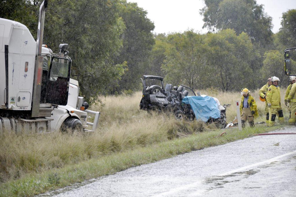 The 2012 crash scene at Jondaryan in which Dalby father Scott Bennett was killed.