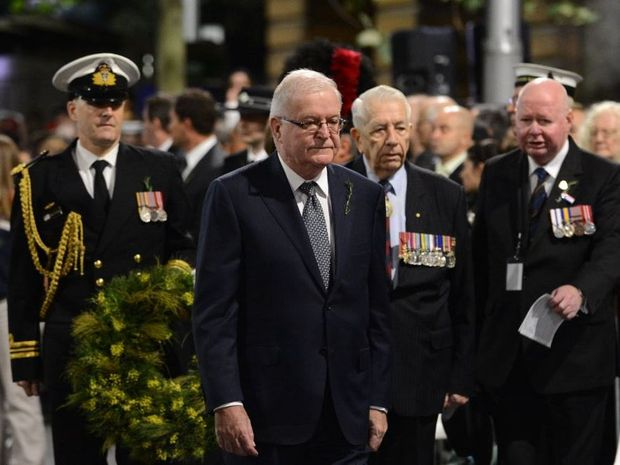 The Lieutenant-Governor of NSW Tom Bathurst QC arrives for the ANZAC Day Dawn Service at The Cenotaph in Martin Place in Sydney, Thursday, April 25, 2013. Australia is commemorating the 98th anniversary of the landing at Gallipoli during WW1.