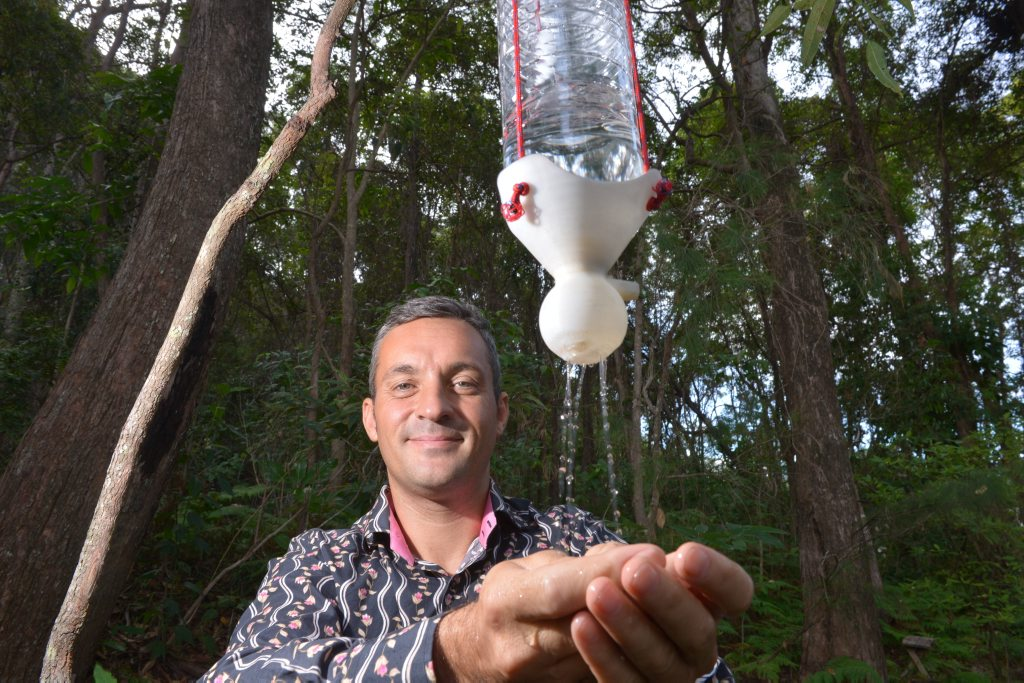 StuartMason with his SpaTap invention that he hopes will transform the art of outdoor washing and showering.