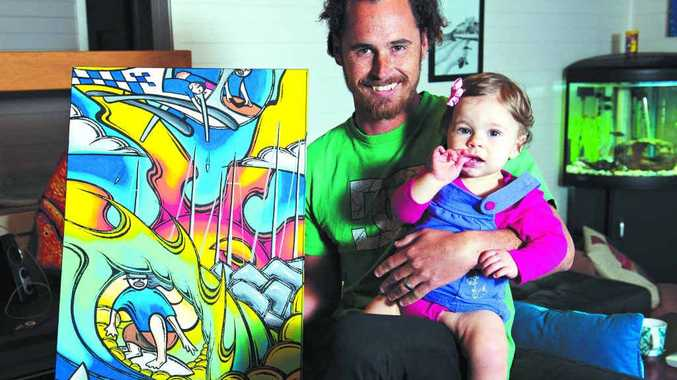 SUPPORT: Family friend and local artist Jimmy Wags with Bella O'Brien.