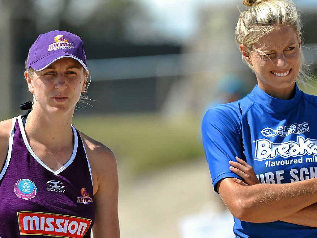 GREAT MATCH: (Left) Clare McMeniman and Laura Geitz from Qld Firebirds netball at a pre-season camp earlier this year.