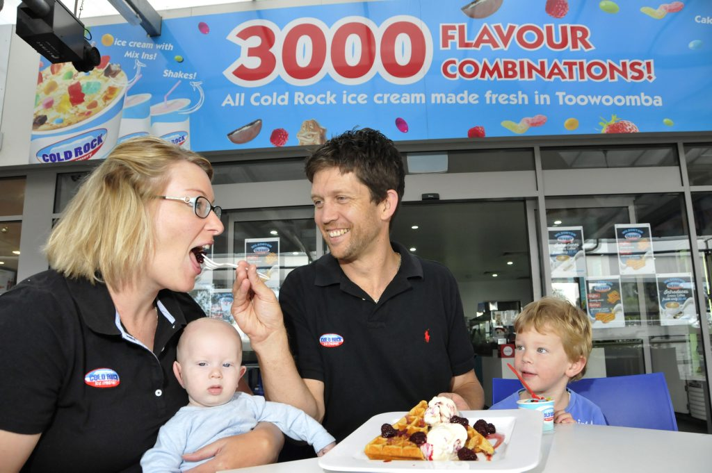 Cold Rock Wilsonton owner Mark Wynhoven with his family, wife Louise, baby Sam and son Max.