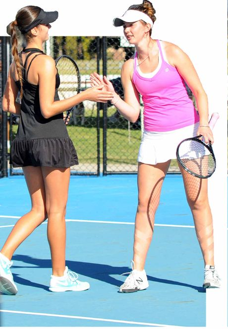 BACK IN ACTION: Taylah Beckman and Brittany Huxley during their AMT Women's Doubles triumph at the North Coast Championships held at Grafton City Tennis Club yesterday. Photo: Leigh Jensen