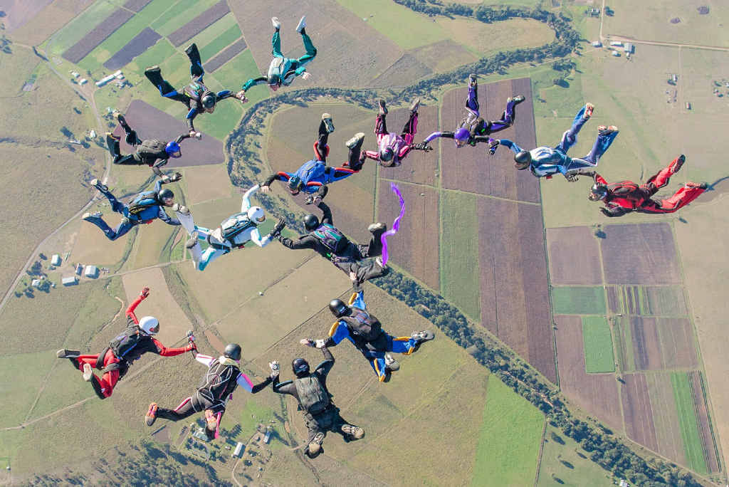 SKY HIGH: More than 60 sky-divers are rehearsing formation jumps for a national record attempt at Toogoolawah this week.