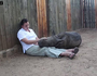 Orphaned baby rhino refuses to sleep alone