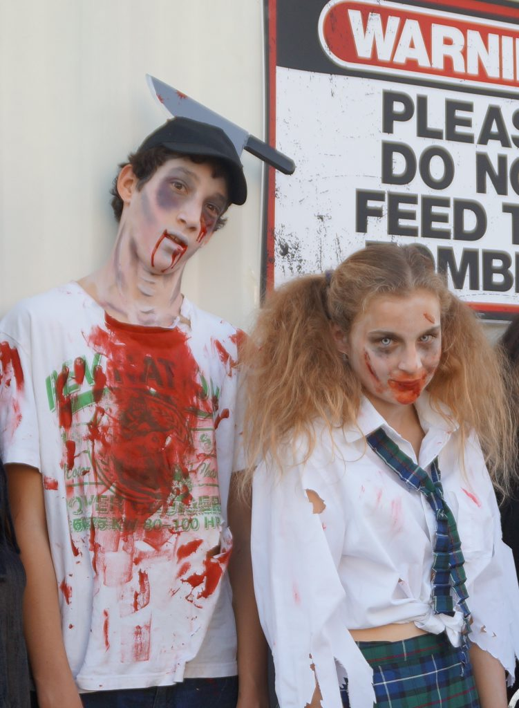 Jacob Cameron and Bridgette Langston practicing their zombie look in preparation for the inaugural Toowoomba Zombie Walk.
