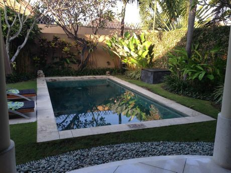 COOL BLUE: The private pool in the one bedroom suite villa at the Mutiara Villa Resort.