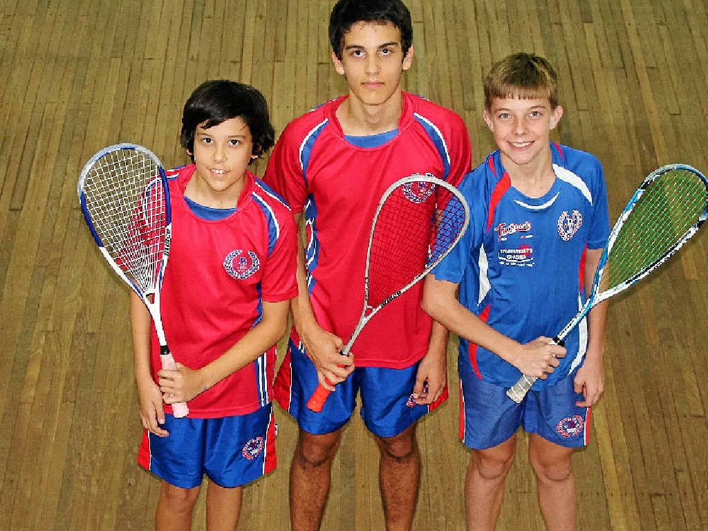 BIG EFFORT: Warwick players Sebastian and Caleb Johnson, and Jason Anderson represented Darling Downs in the state championships in squash.