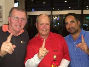 Three golfers, one hole, three holes-in-one