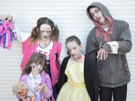 Practising for the inaugural Zombie Walk are (back from left) Makayla Edser, Tenille Edser, Daniel Cameron and (front) Aaliya Ruthenberg.