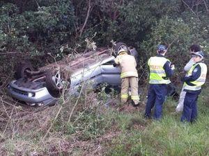 Young couple and son lucky to escape crash