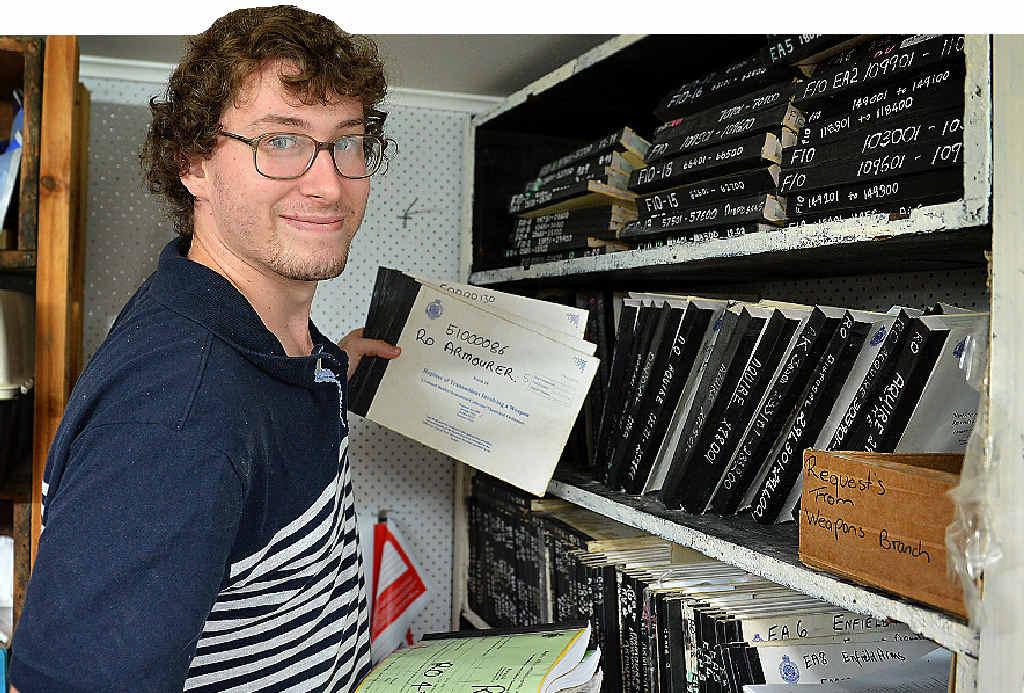 Kaleb Schefe staff member at Owens guns. Photo Renee Pilcher / The Gympie Times