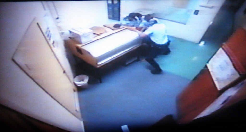 CAUGHT ON CAMERA: CCTV footage taken at Ballina police station on the night Corey Barker (pictured right) was allegedly attacked more than three years ago.