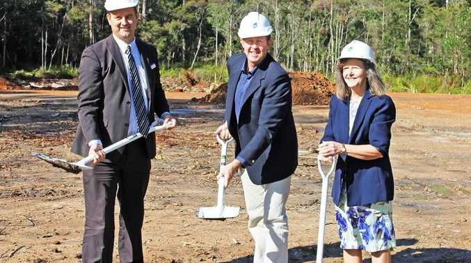 The first sod is turned at the future site of a Nambucca Valley Christian Community School expansion.