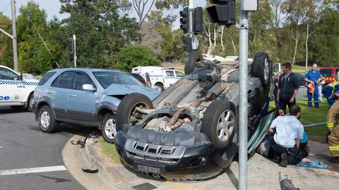 An accident on the corner of Harbour Dr and Curacoa St held up traffic on Friday afternoon.Photo: Trevor Veale / Coffs Coast Advocate