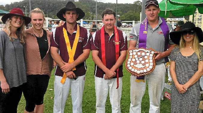 NEW ZEALANDER WINS THE DAY: Hayley Rogerson, Meike Griggs-Francis, Josh Adamson, Jamie Head, Shane Jordan (with the Elwyn Griggs Memorial Shield) and Peta Rogerson at the Sunshine Coast Agricultural Show.