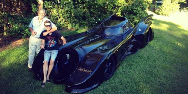 Australian Zac Mihajlovic and his grandfather built the word's only road-going Batmobile in their Sydney shed. Photos / Supplied