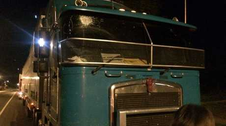 A rock was thrown through the windscreen of this truck, leaving the driver with a shard of glass in his eye.