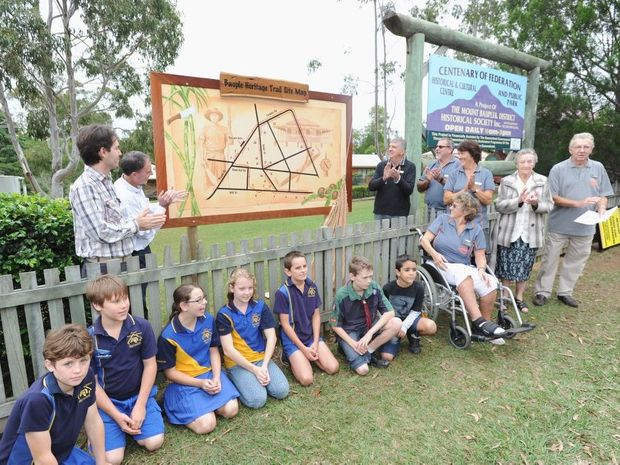 The trail map is unveiled at the Bauple Heritage Trail launch on the weekend.
