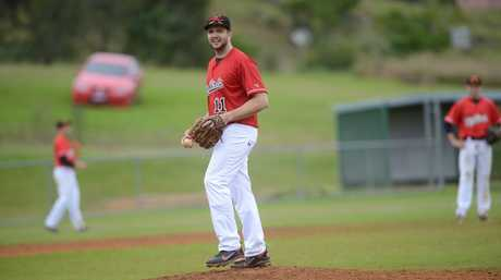 Robbie Pruess FNC Baseball Norths vs East at Albert Park, Lismore. Photo : Mireille Merlet-Shaw/The Northern Star