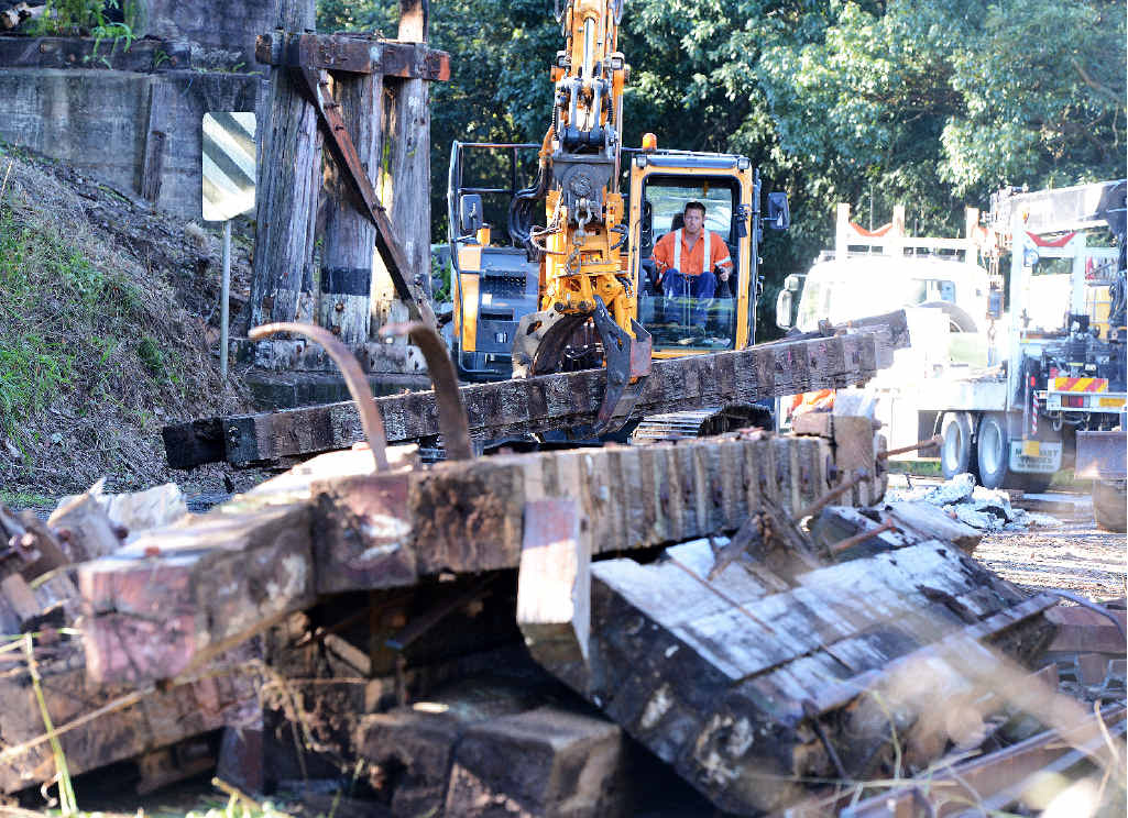 DEMOLISHED: It took four hours to remove the bridge.