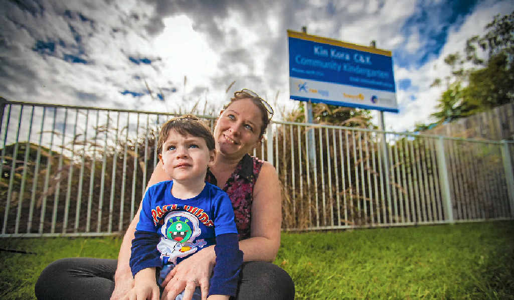 WAITING GAME: Jolene Napper hopes to get Phoenix, 3, into C&K; Kin Kora Community Kindergarten. She is one of many parents desperate to secure a place.