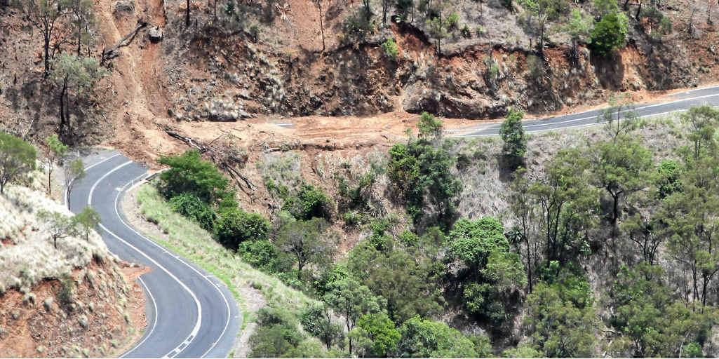 A landslide on the Burnett Hwy on the Mount Morgan range.