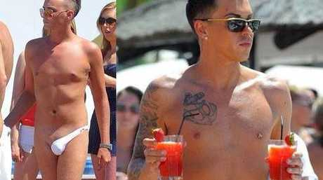 A copy of the image circling social media sites showing the latest in men's fashion - a one leg bikini bottom.