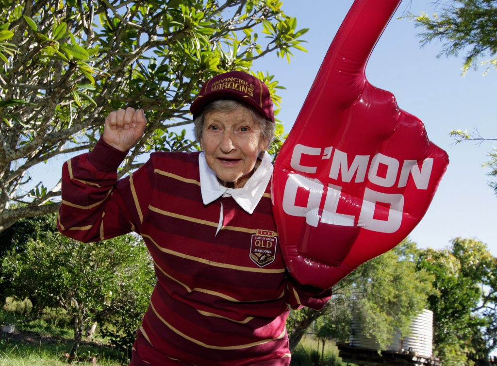 Great grandmother Winne Cordie will be among the countless faithful barracking for the maroons in the second match of 2014 Origin series.