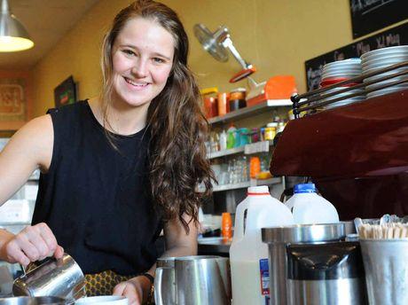 GAINING SKILLS: Georgia Hackett from Toast Cafe makes coffee. Photo: Leigh Jensen