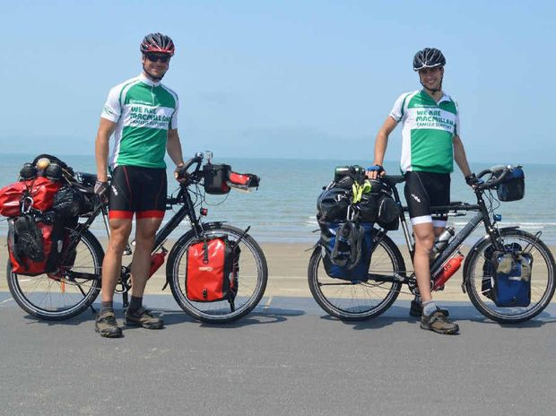 FOR CHARITY: Andrew and Rob Corbett on their cycling trip raising money for McMillan Cancer Support.
