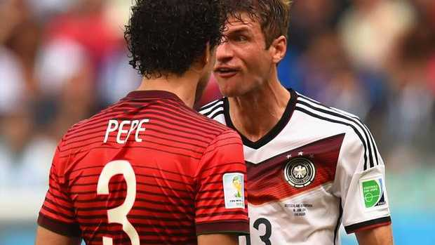 Thomas Mueller comes face to face with Pepe. GETTY