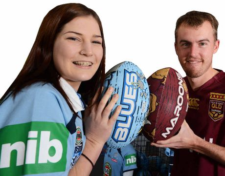 CLASH: Celeste Goodwin and Mitchell Wilson get ready for the big night of the State of Origin.