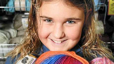PURLER: Jasminbleu Robertson, 8, of Wollongbar, is learning how to knit to keep warm this winter.