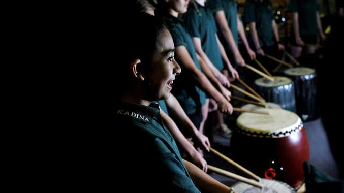 INSPIRED: Kadina High School student Yvette Mazzar participates in a Japanese drumming workshop in the music rooms at Kadina High School.