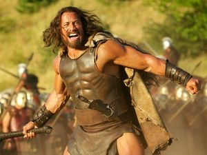 The Rock shows off world-first Hercules footage in Sydney