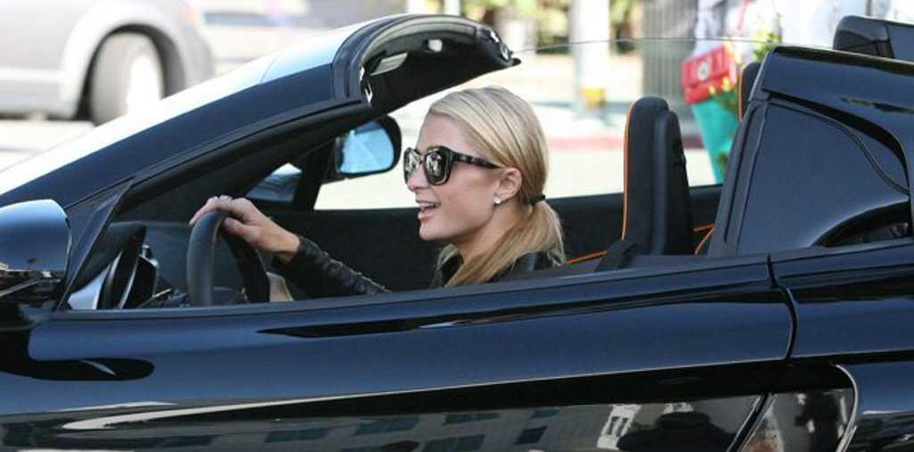 Paris Hilton in her new wheels.