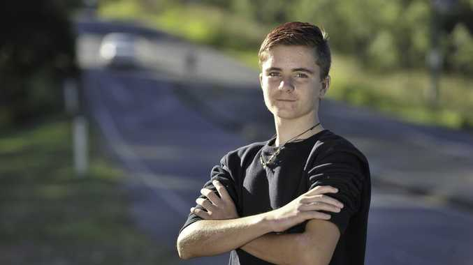 Gladstone teen Matt Bonney speaks of his near-death experience after crashing while skateboarding down the steep hill adjacent to Tondoon Botanic Gardens.