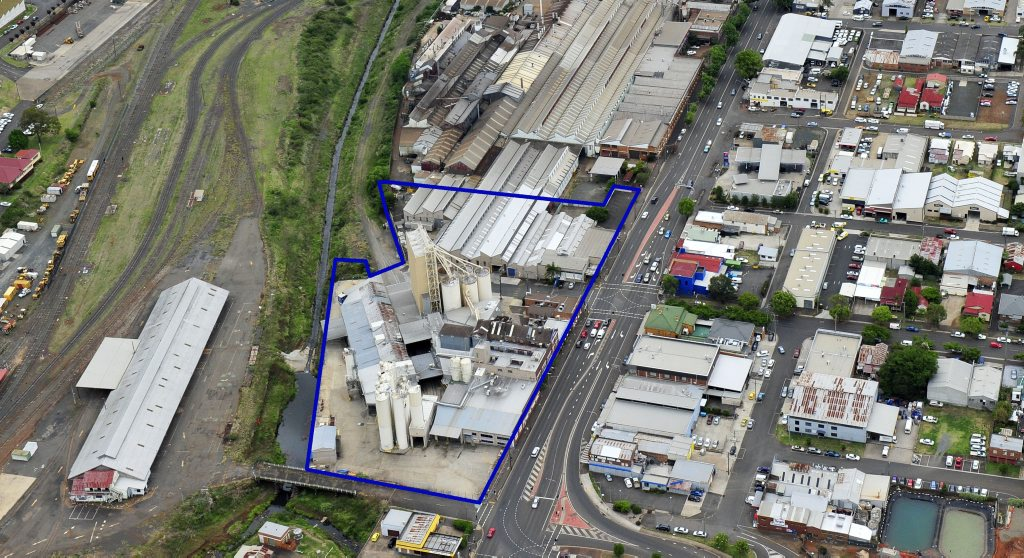 The 1.8ha Allied Mills site at the corner of Ruthven St and Chalk Dr is being marketed to developers across Australia and Asia.