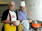 Frank Burkett and Perry Perrement in the Maryborough Catholic parish hall preparing for the Sew PNG soup night.