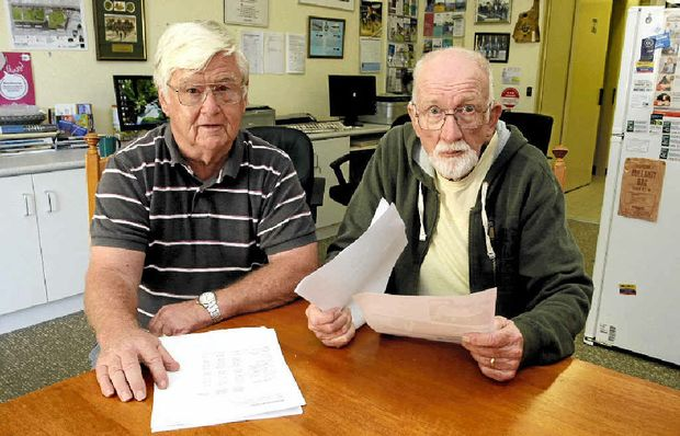 FURIOUS: Vietnam Veterans Association of Australia Bribie Island and District Sub-branch member Keith Winfield and secretary Jock Young are angry at the Federal Government's proposed changes to military pensions.