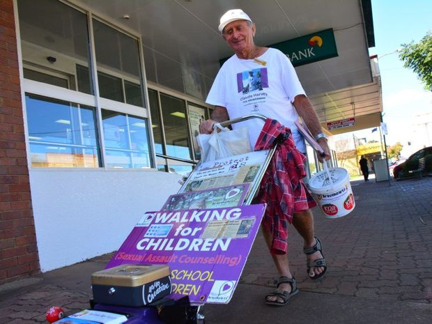 Mower Man Claude Harvey visits Hervey Bay and Maryborough with his mower for charity.