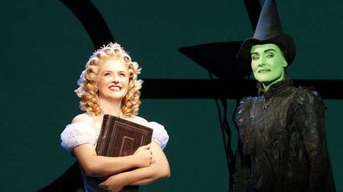 Lucy Durack and Jemma Rix as Glinda and Elphaba in Wicked.