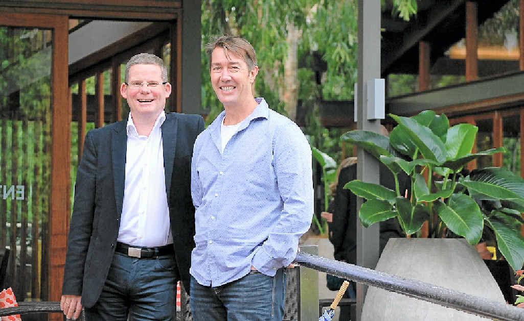 TOP DESTINATION: Jetstar Australia and New Zealand CEO David Hall and Destination Byron president, Cameron Arnold at the Byron at Byron resort.