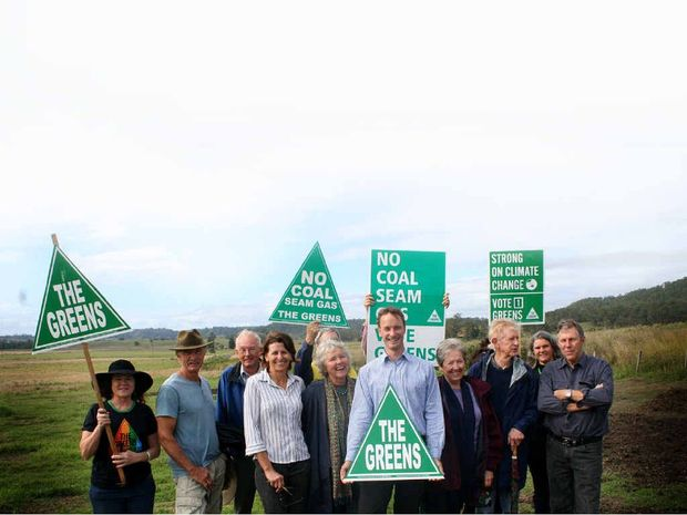 Adam Guise (front), the newly endorsed Greens candidate for the state seat of Lismore flanked by Greens supporters and Bentley landowners yesterday.