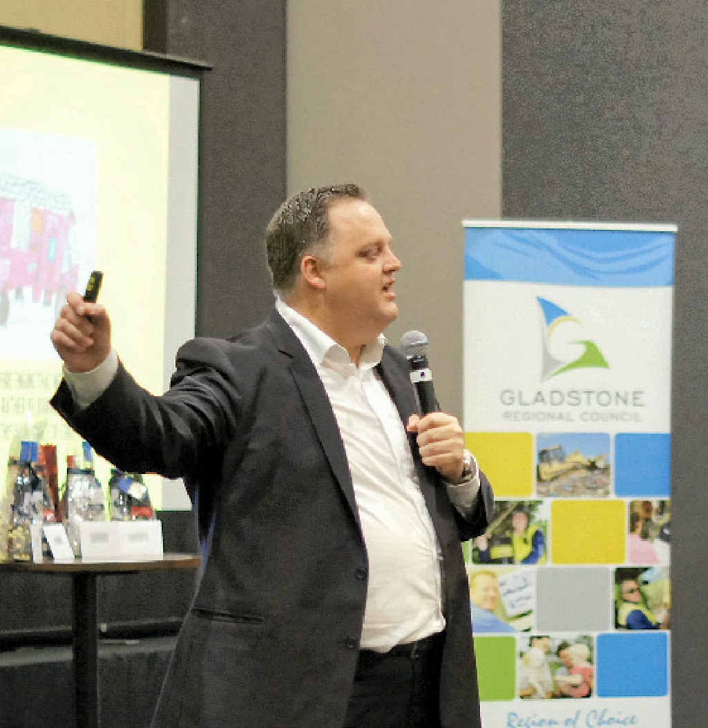 IDEA'S MAN: The Gruen Transfer's Dan Gregory presents at the GAPDL Future Leaders conference in Gladstone on Thursday.