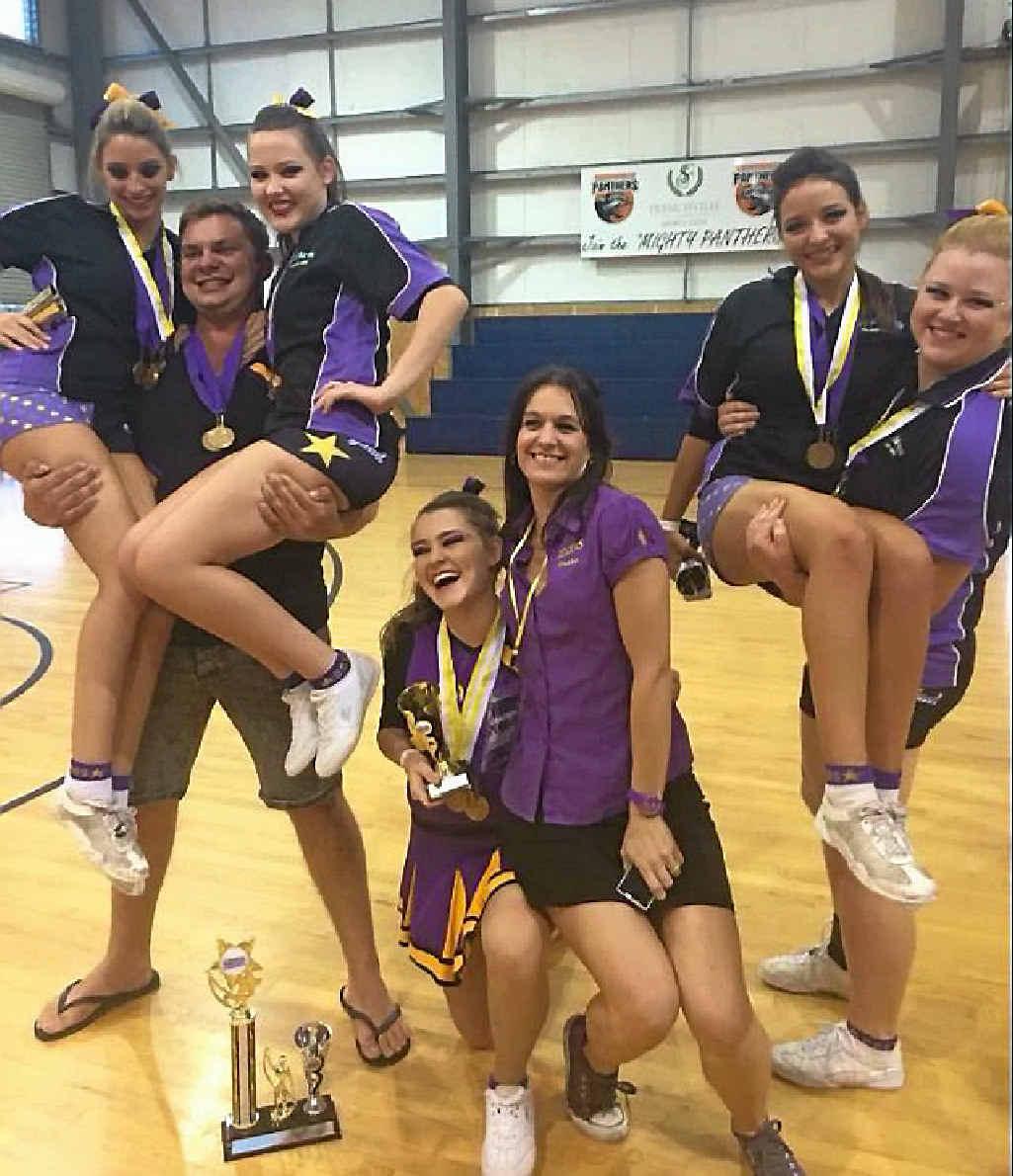 SHOOT FOR THE STARS: DDS Stars Cheerleader Zaden Bryant with Jessica O'Brien, Laura Gilbar, Shannon Spreadborough, Debbie Scott, Alyce Hall and Niki Outridge.