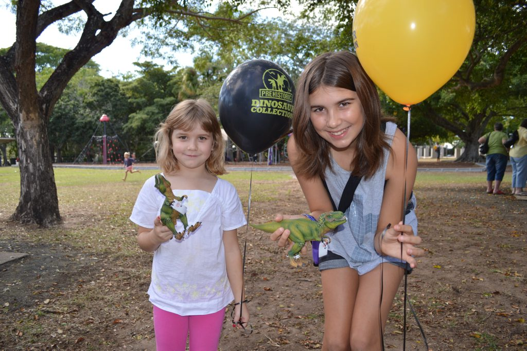 Alycia and Mia Baumann headed down to the NewsMail dinosaur card swap meet on Saturday and won prizes in the card hunt. Photo Emma Reid / NewsMail