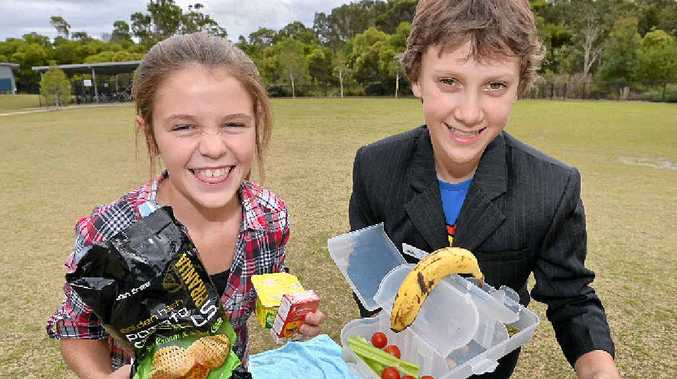 NUDE FOOD: Calais and Logan of Peregian Springs school.